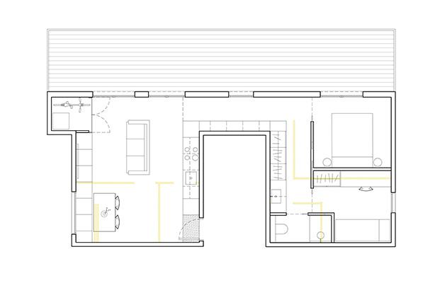Plano del pequeño piso en Hospitalet reformado por AllAround Lab