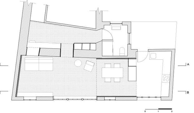 Plano de la pequeña vivienda en Tuy abierta al paisaje