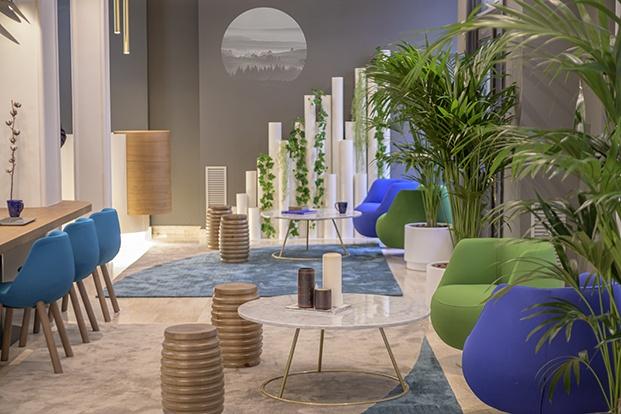 El lobby, coworking y zona de estar del Hotel Boutique Inca en Zaragoza diseño de Alfaro-Manrique Atelier
