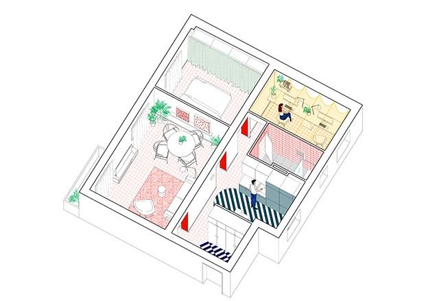 Vista de la distribución del apartamento en Madrid rehabilitado por m2ft architects