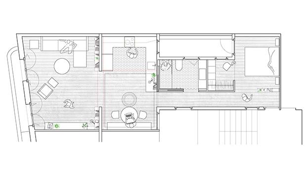 Planos del pequeño piso de 65 m2 en Barcelona