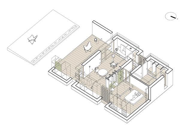 Planos de los tres volúmenes y comunicados y el cuarto, enterrado, que acoge el aljibe y se usa de terraza