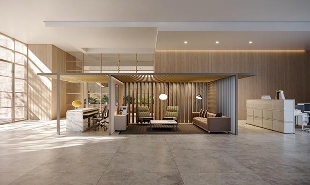 Kettal reinventa las nuevas oficinas con Pavilion O. Estructura modular adaptada al nuevo entorno laboral.