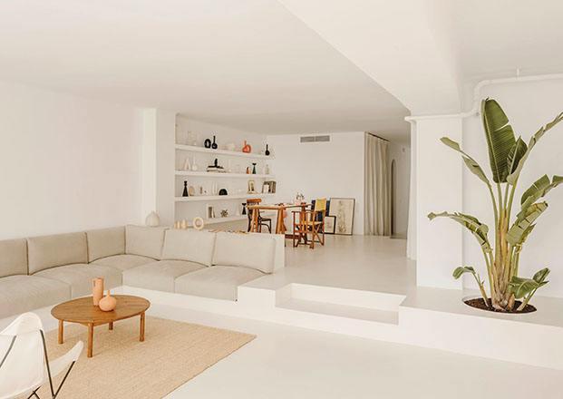 El blanco, la luz , los muebles de diseño y la vegetación son los grandes protagonistas de la casa Vasi & Serra