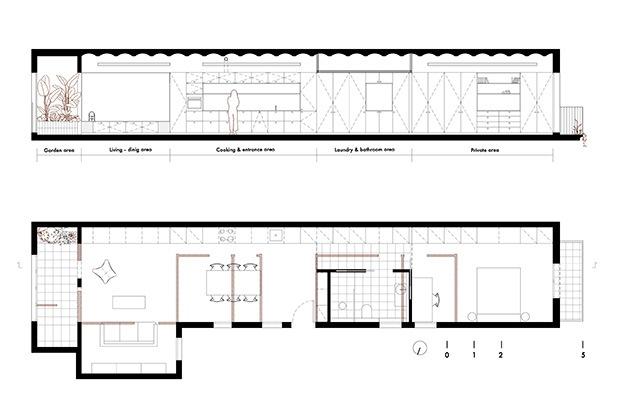 Planos del piso de 75 m2 rehabilitado por Allaround Lab en el centro de Barcelona