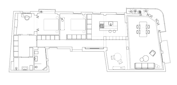 Plano de este antiguo piso en Bilbao recién reformado por Babelstudio