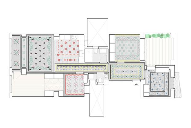 El color del suelo hidraúlico recuperado se aprecia en este plano del ático en Ruzafa