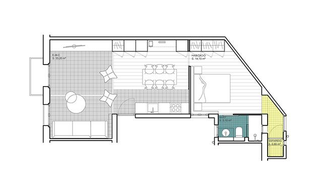plano del apartamento de 60 m2 en el centro deBarcelona en el que se ap recia la distribución y los colores que se han dado a los espacos