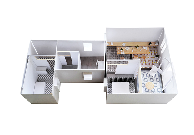 Una maqueta del apartamento del Eixample