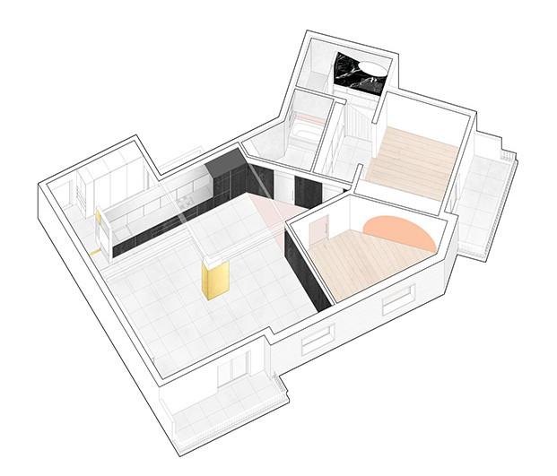 Plano de la vivienda del arquitecto Raúl Sánchez en Poble Nou, en el que se aprecia los distnos tonos empleados