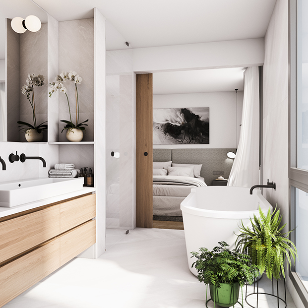 Cuarto de baño de uno de los nuevos dúplex de Casa ALesan