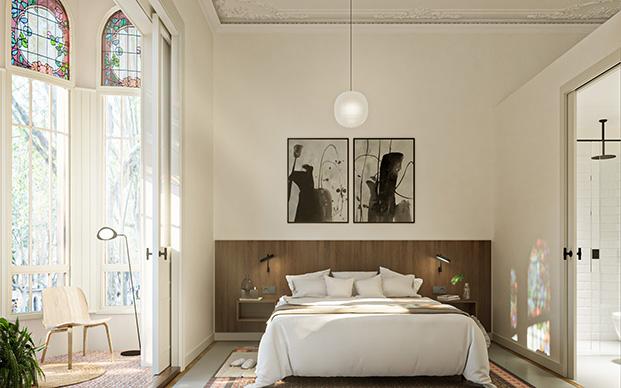 Las vidrieras modernistas iluminan los interiores de la Casa Alesan en Barcelona