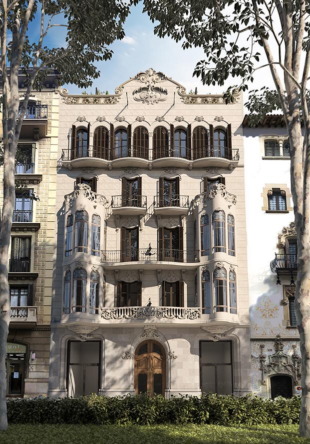 Fachada de la casa Alesan rehabilitada por Bach Arquitectes en Barcelona