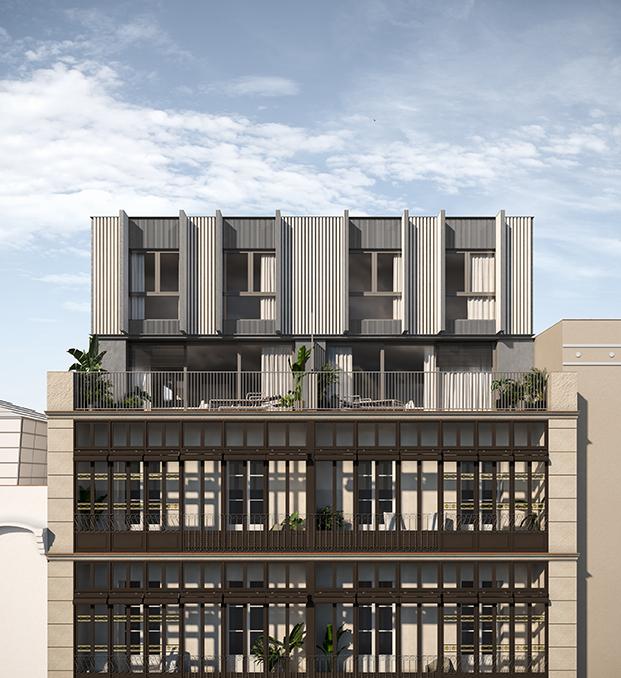 Vista de las nuevas plantas que se han sumado al histórico edificio modernista Casa Alesan en Barcelona