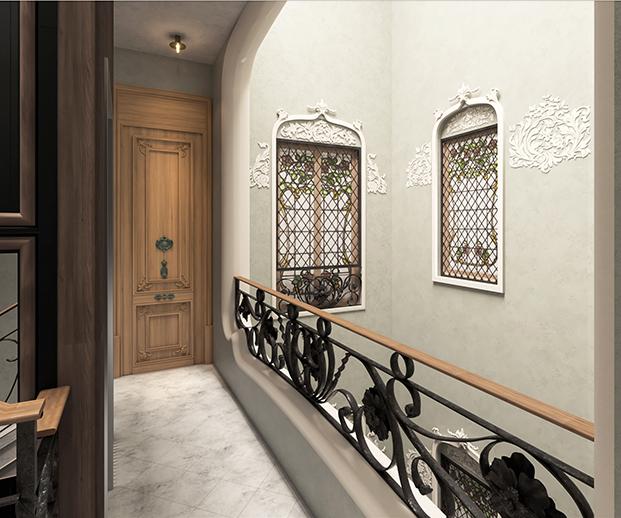 Detalles arquitectónicos y ornamentales del histórico edificio modernista Casa Alesan en Barcelona