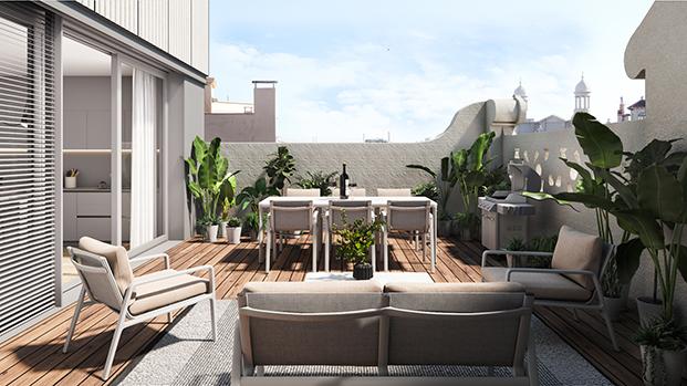 Las terrazas de los nuevos dúplex de la casa Alesan