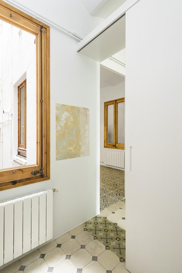 Vista de los distintos pavimentos del apartamento 60 m2 en Barcelona