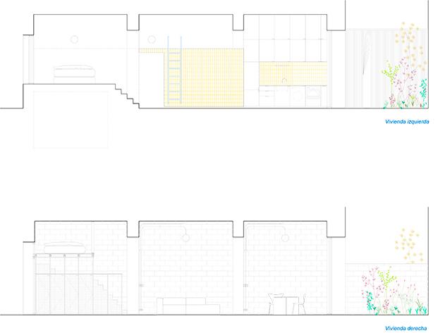 casa burr plano sección diariodesign